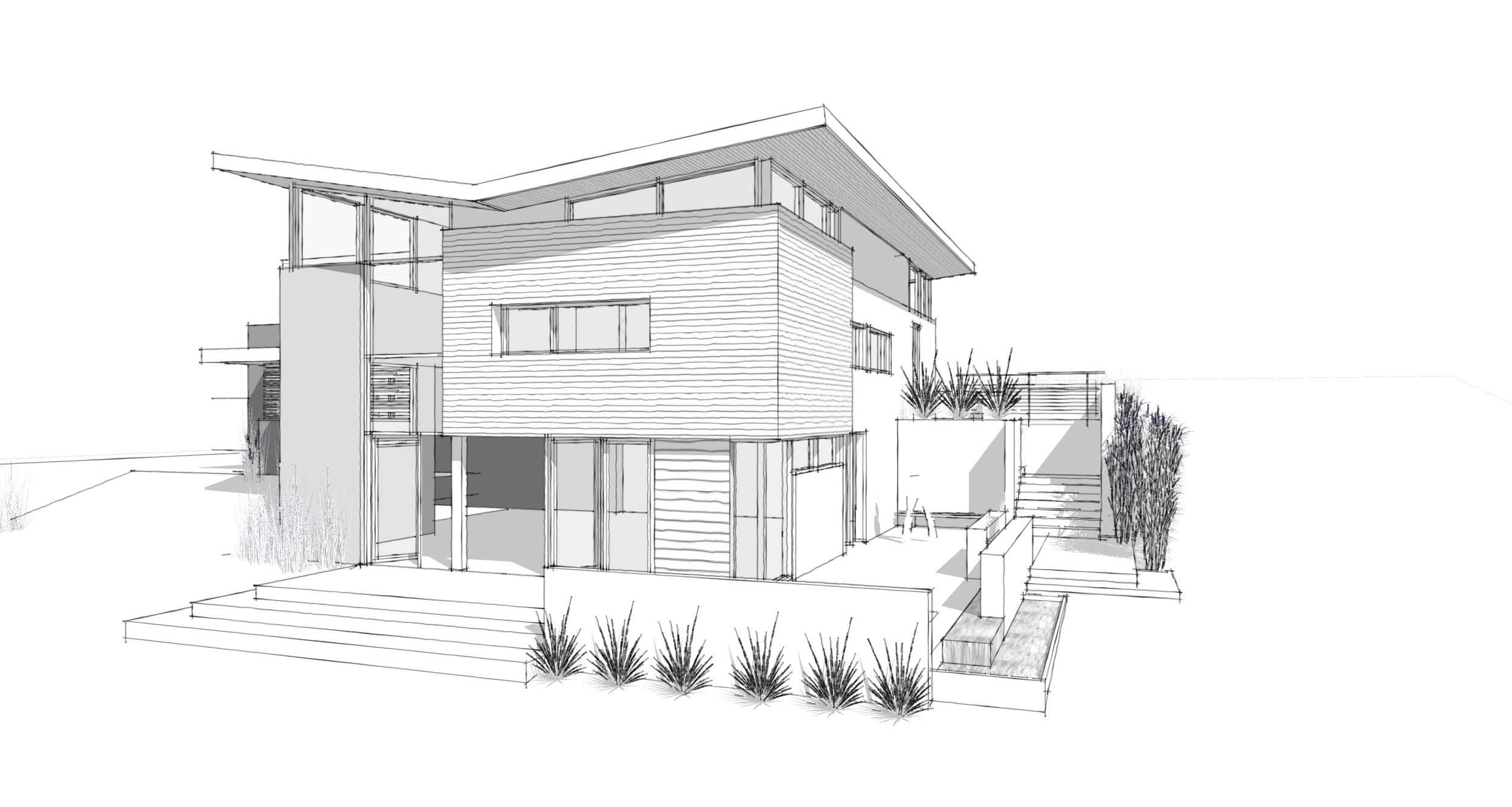 modern architecture drawing at