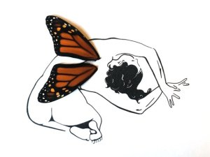 side butterfly drawing monarch stretch drawings paintingvalley wing
