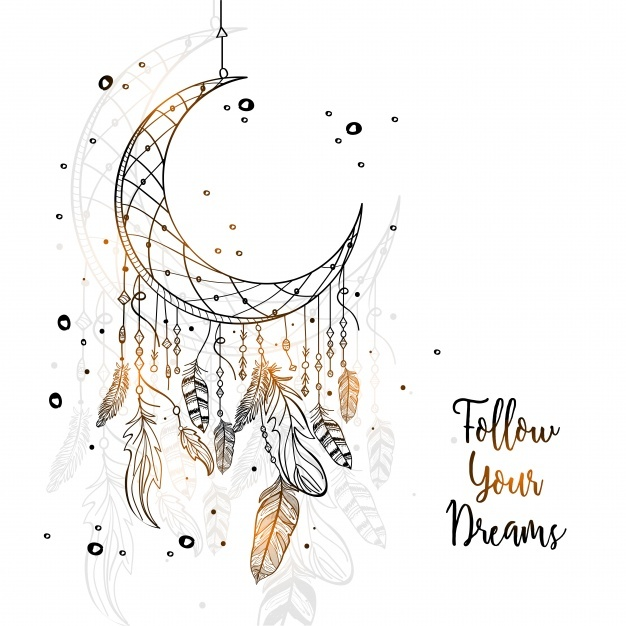 moon dreamcatcher drawing at