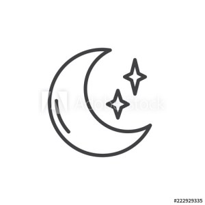 moon outline stars drawing icon line night sign crescent simple drawings illustration star vector half paintingvalley linear concept mobile symbol