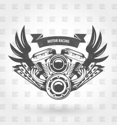 1200x1200 winged motorcycle engine emblem motorcycle engine drawing [ 1200 x 1200 Pixel ]