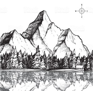 mountain drawing forest sketch drawn scenery vector outline background hand illustration camping drawings landscape mountains outdoor trees simple lake sketches
