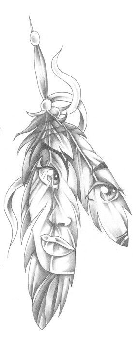 native american drawing drawings indian tattoo paintingvalley feather tattoos