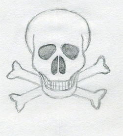 drawings cross easy nice drawing sketches skull draw simple skulls fantasy interesting crossbones paintingvalley