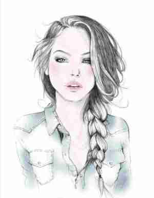 drawing sketch sketches drawings pencil floating sister pretty draw easy face ladies paintingvalley she