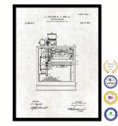 2200x2200 popcorn machine vintage patent artwork black framed canvas popcorn machine drawing [ 2200 x 2200 Pixel ]