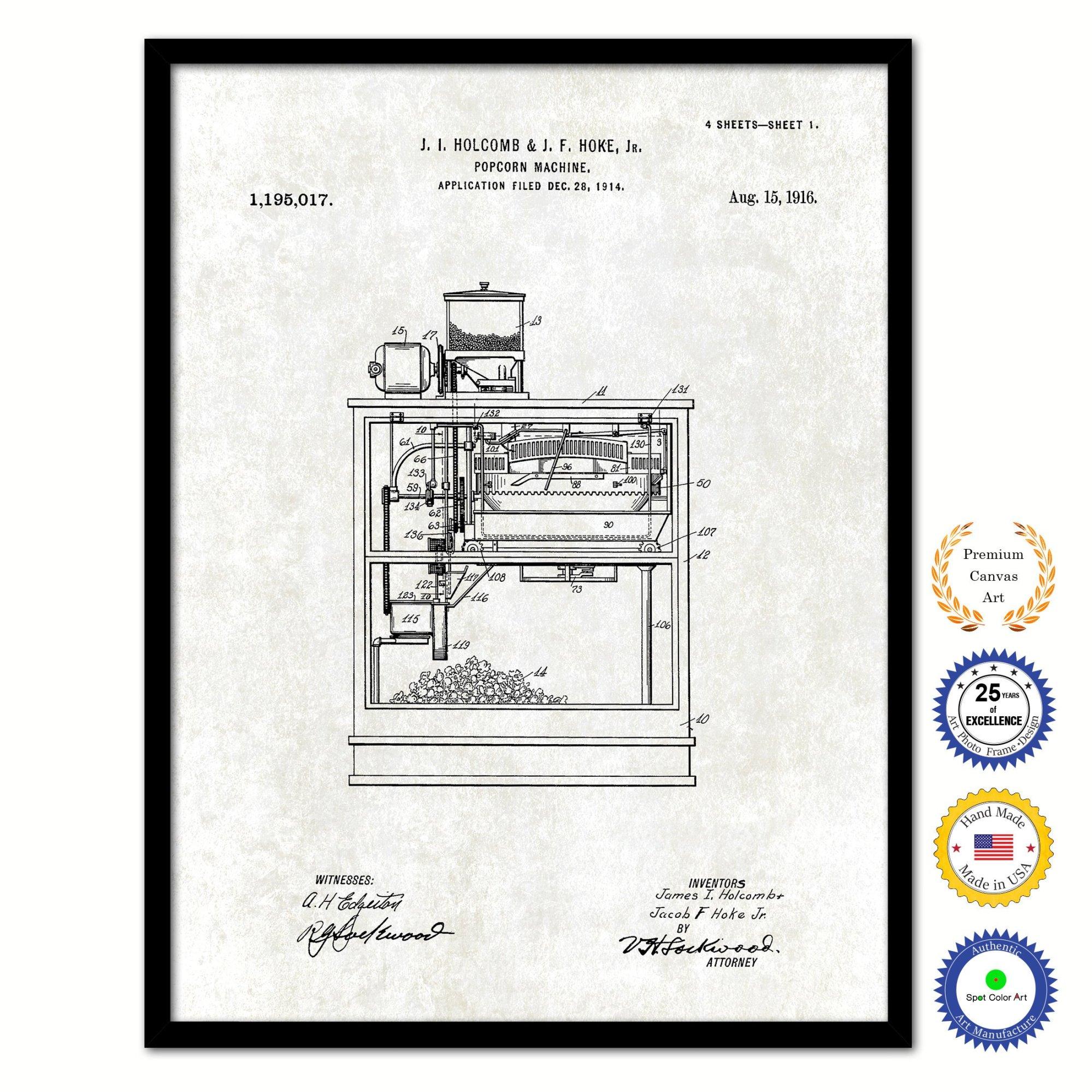 hight resolution of 2200x2200 popcorn machine vintage patent artwork black framed canvas popcorn machine drawing