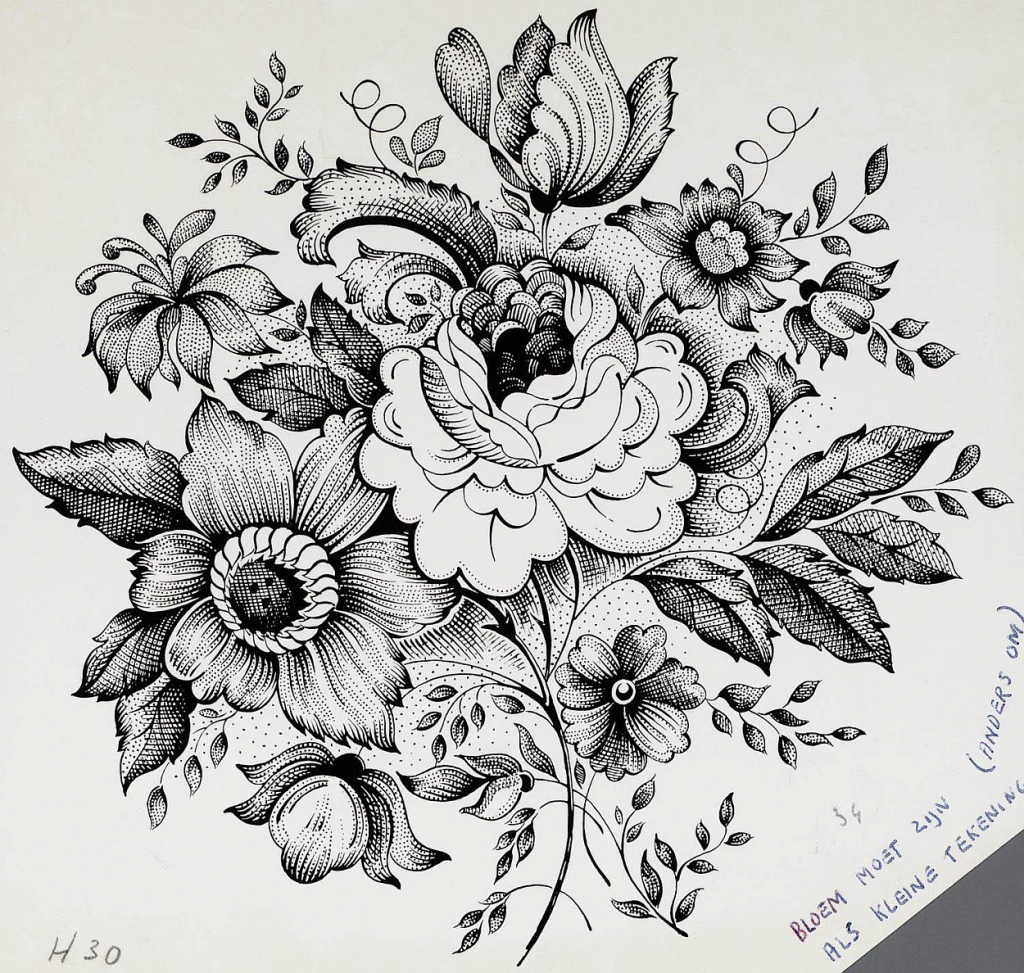 realistic flowers drawing at