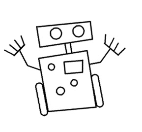 straight drawing simple line drawings lines robot