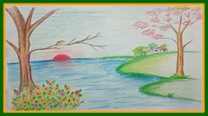 nature drawings drawing simple easy scenery landscape colored pencils paintingvalley