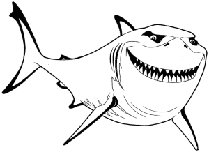 nemo finding drawing bruce shark draw step coloring simple realistic easy fish steps lesson drawings pages cartoon disney drawinghowtodraw paintingvalley