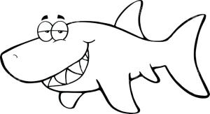 shark cartoon happy easy drawing outline simple cool vector outlined sea drawings illustration clipart animal draw sharks basic pencil tattoo
