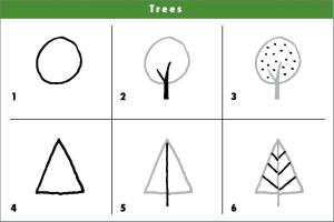 drawing shapes draw simple using drawings tree trees cartoon sketches learning step easy 3d fun learn doodle practice couple drawn