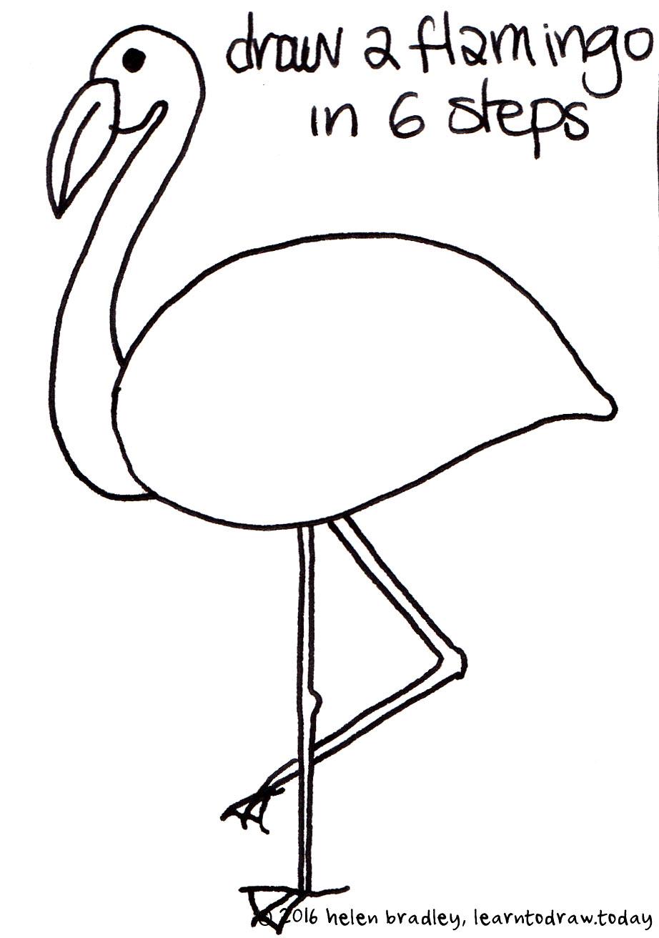 simple flamingo drawing at