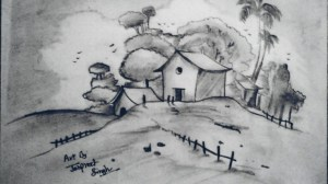 simple landscape drawing easy landscapes draw drawings pencil paintingvalley artist begginers