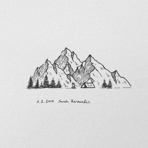 mountain drawing simple pencil drawings sketch realistic paintingvalley