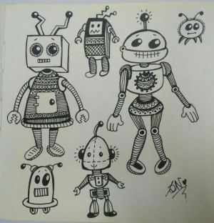 robot simple drawing paintingvalley drawings