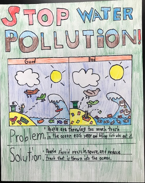 poster drawing easy water pollution