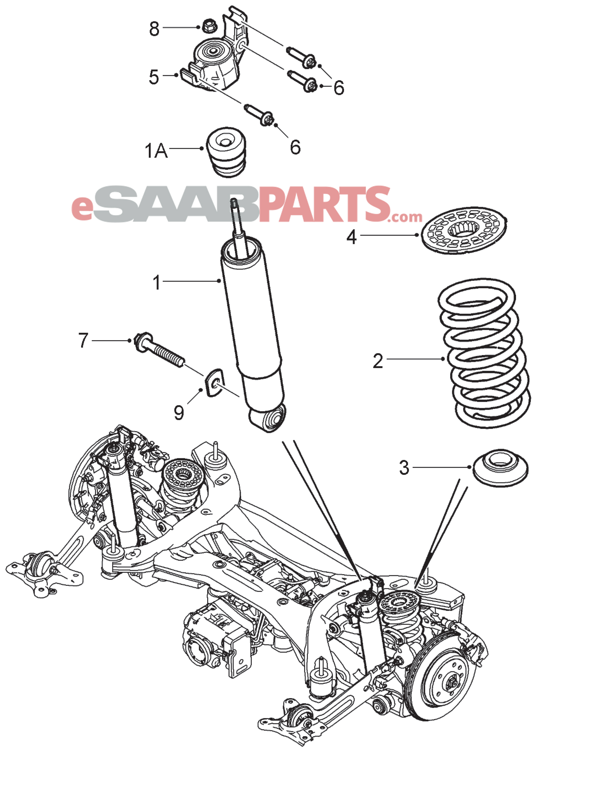 hight resolution of 1933x2546 saab rear shock absorber xwd suspension drawing