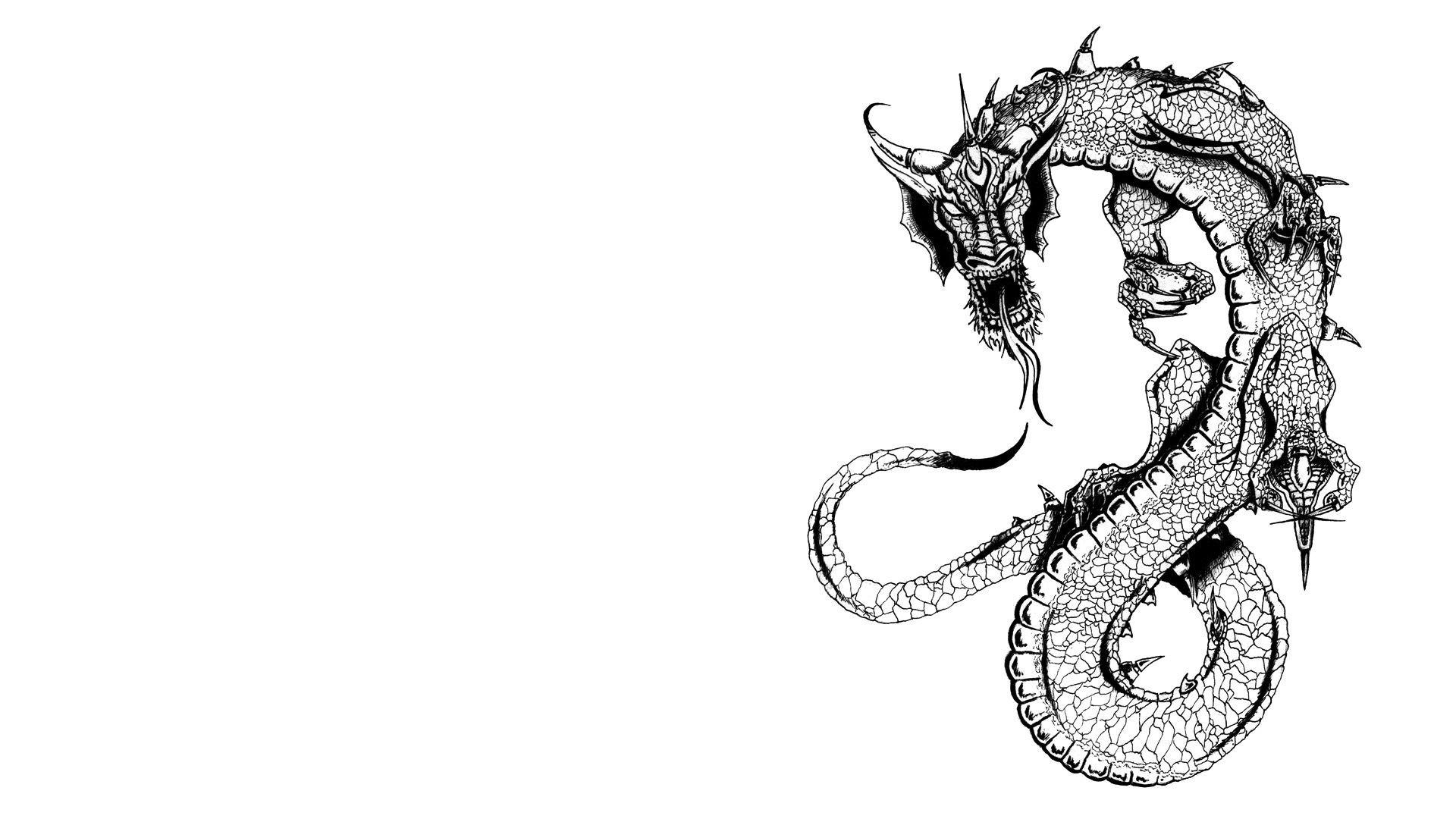 white dragon drawing at