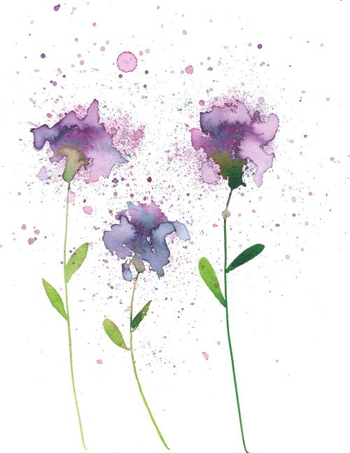 abstract watercolor flowers at