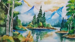 scenery drawing colour nature watercolor paintings natural painting simple watercolour water drawings draw paintingvalley getdrawings watercolors