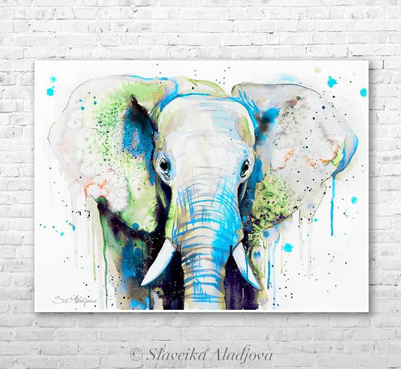 watercolor elephant head at