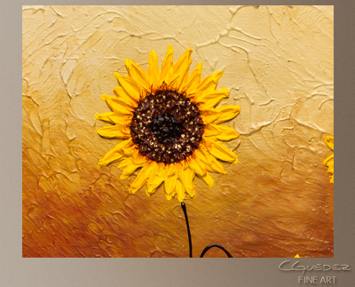 abstract sunflower painting at