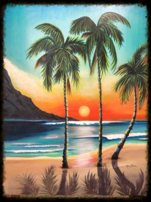 nature scenery drawing paintings painting tree easy drawings canvas palm simple natural landscape artwork tropical bird trees acrylic colour draw