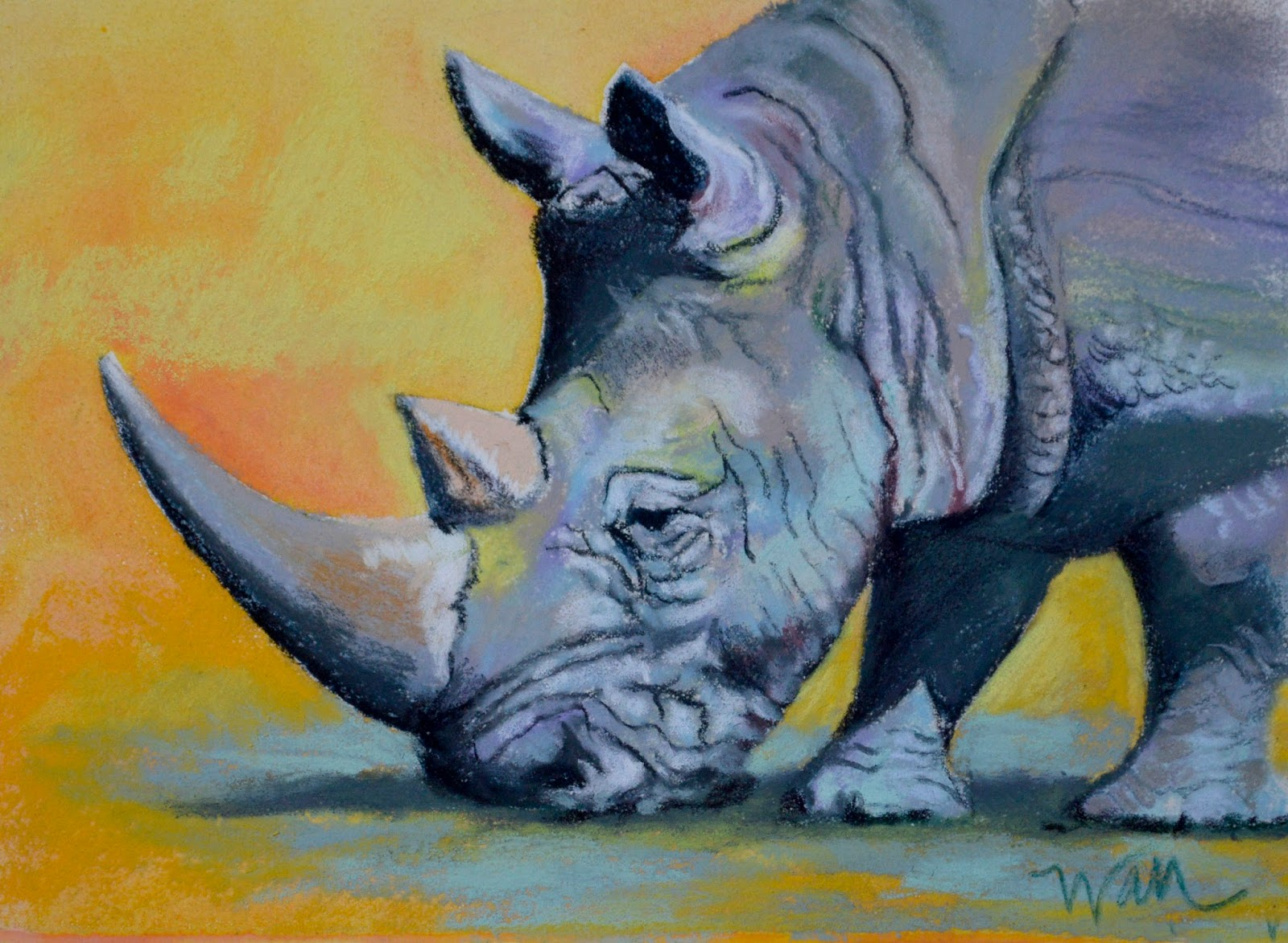 rhino painting at paintingvalley