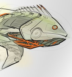 2000x1489 robot bass concept sketch bass fish sketch [ 2000 x 1489 Pixel ]