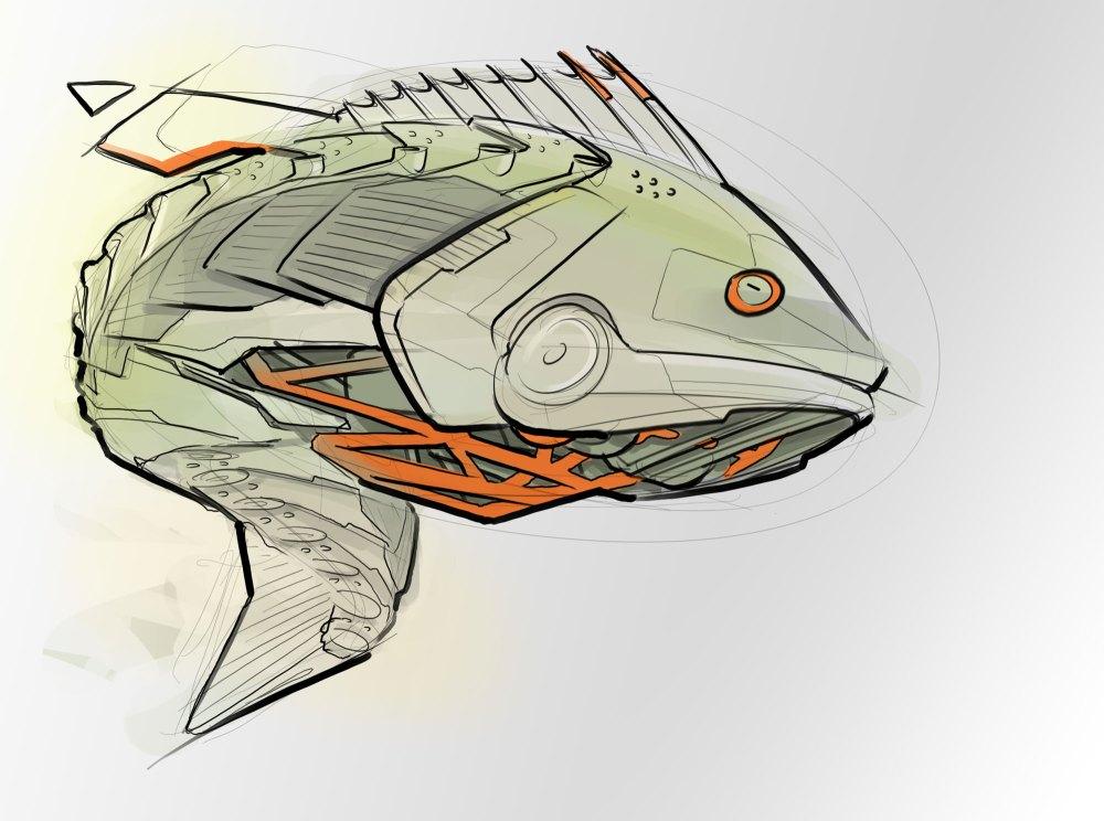 medium resolution of 2000x1489 robot bass concept sketch bass fish sketch