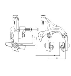 1000x1000 wake alloy bike brake caliper set 41 4 54 7mm reach front rear caliper sketch [ 1000 x 1000 Pixel ]