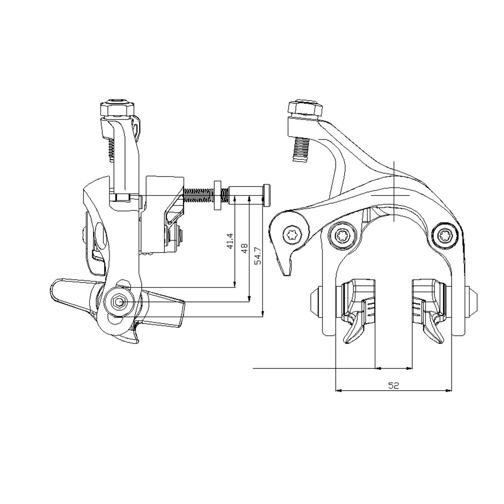 medium resolution of 1000x1000 wake alloy bike brake caliper set 41 4 54 7mm reach front rear caliper sketch