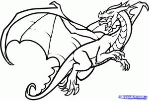 dragon sketch cartoon easy draw sketches paintingvalley