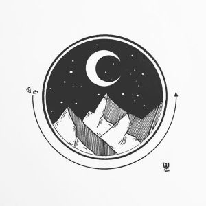drawing sketch circle tattoo tattoos mountain geometric drawings sketches dibujo arte dibujos paintingvalley moon fondos pc designs tatuajes landscape para