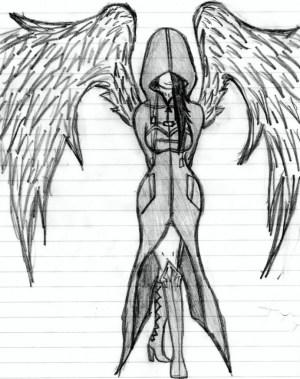 angel dark sketch easy drawing sketches paintingvalley