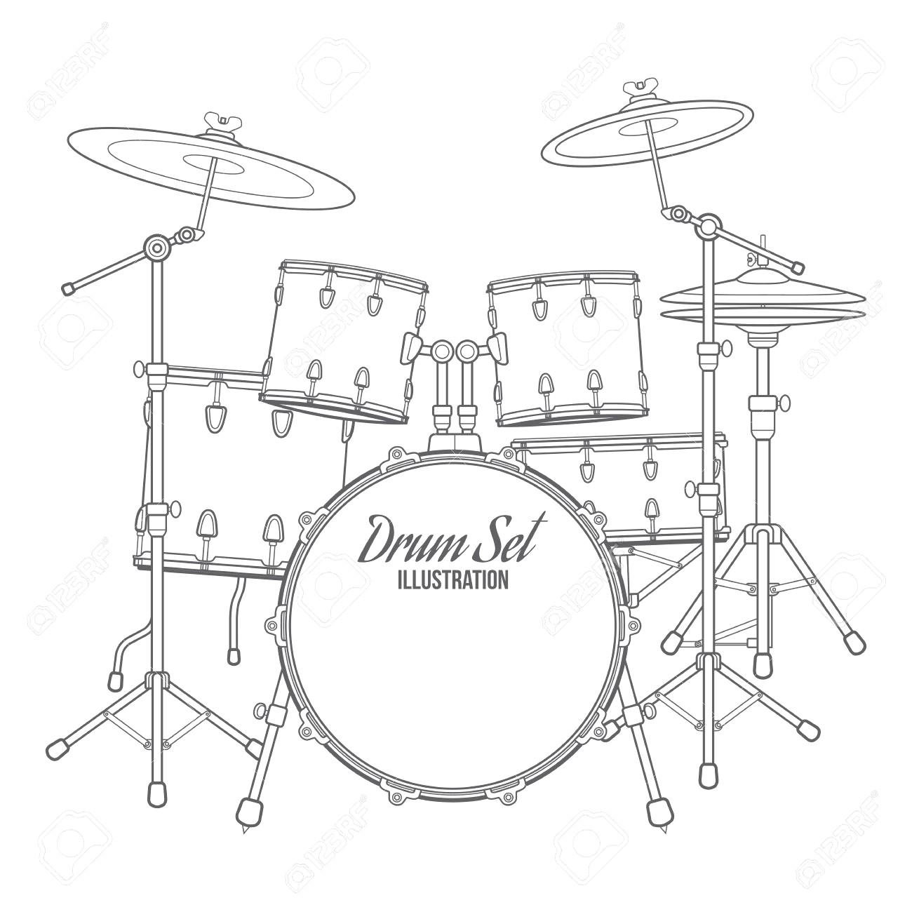 Drum Kit Sketch At Paintingvalley