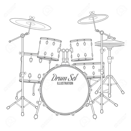 small resolution of 1300x1300 36472614 vector dark outline drum set on white background bass tom drum kit sketch