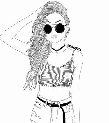 girl outline sketch at