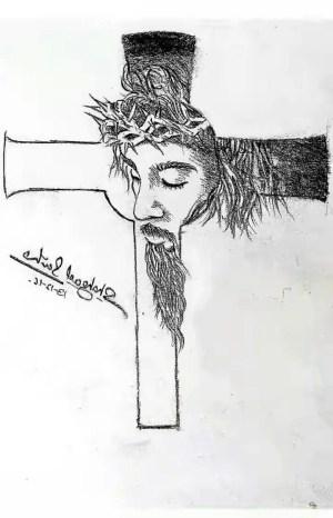 jesus cross sketch easy drawing drawings pencil sketches paintingvalley