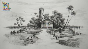 pencil landscape shading scenery drawing sketch drawings simple nature easy draw paintingvalley learn sketches explore landscapes sketching village step paintings