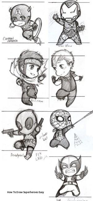 marvel sketches heroes draw easy superheroes paintingvalley