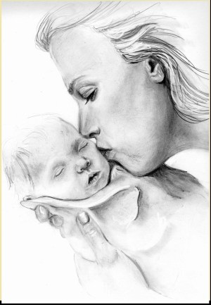 mother pencil daughter sketch drawings child simple drawing sketches nature paintingvalley