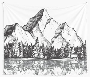 mountain drawing drawn outline hand vector scenery sketch forest background illustration landscape drawings camping mountains outdoor lake pencil sketches snowy