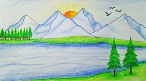 nature sketch scenery simple sketches drawing paintingvalley