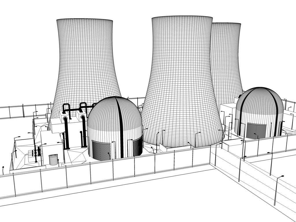 hight resolution of nuclear power plant sketch