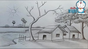 pencil nature drawing sketch simple sketches scenery natural paintingvalley paintings