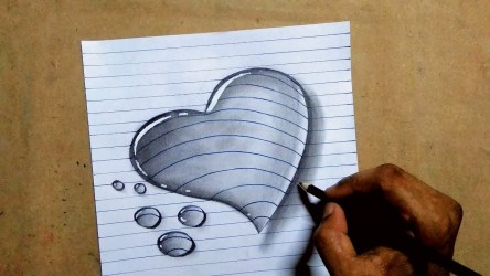 heart pencil sketch 3d water drawing drop sketches paper a4 paintingvalley collection