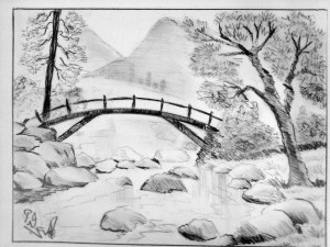 pencil nature scenery drawing sketches realistic drawings sketch easy landscape simple beginners shading bridge natural draw paintingvalley beginner drawingartpedia painting